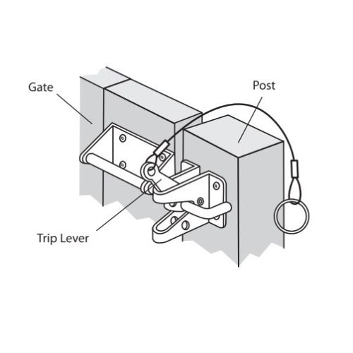 Nuvo Iron Heavy Duty Gate Latch (HD) with Cable & Ring Part # GLWHD