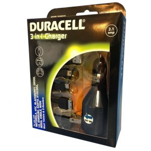 Duracell 3 in 1 (Car Home USB) Charger for Cell Phones Tablets & E-Readers