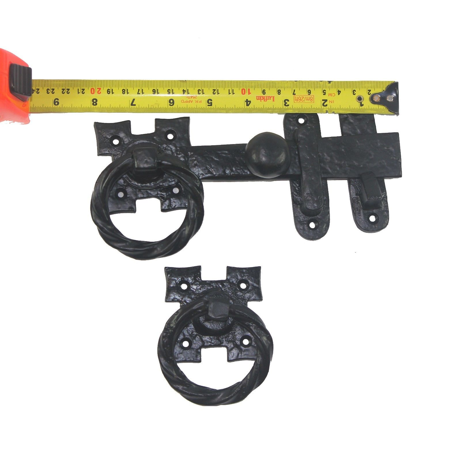 Nuvo Iron Antique Look Colonial Ring Latch Designed for Wood Gates, Doors - Black