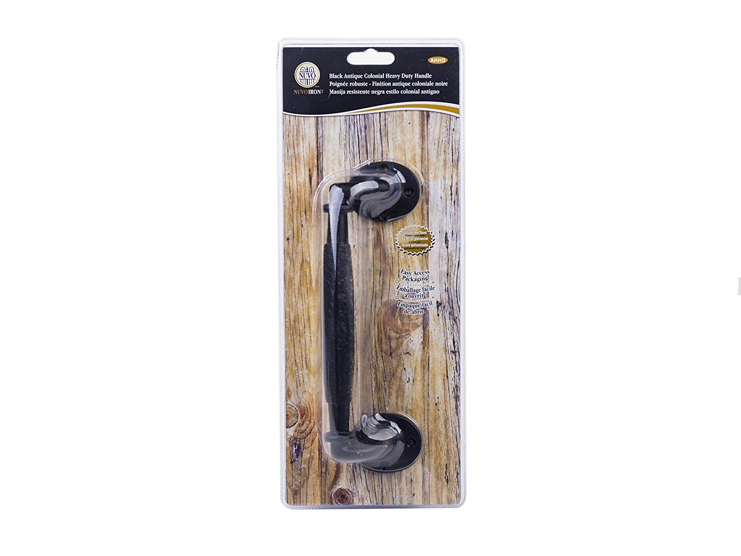 Nuvo Iron Antique Look Colonial Heavy Duty Handle Designed for Wood Doors, Gates, Sheds - Black