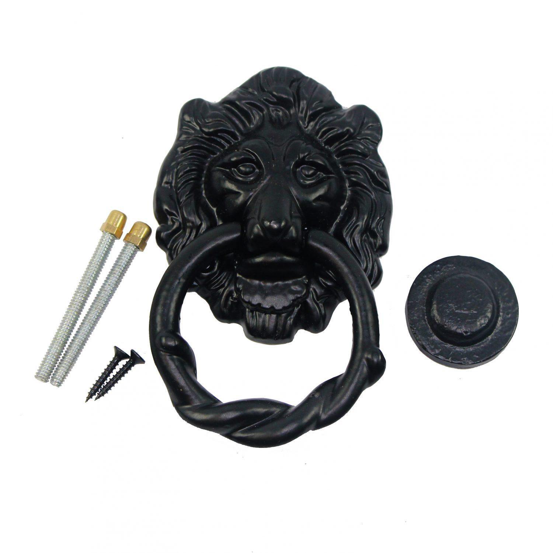 ... Antique Look Lion Head Iron Heavy Duty Ring Colonial Fancy Door Knocker  in Black. Hot - Nuvo Iron Antique Look Lion Head Iron Heavy Duty Ring Colonial