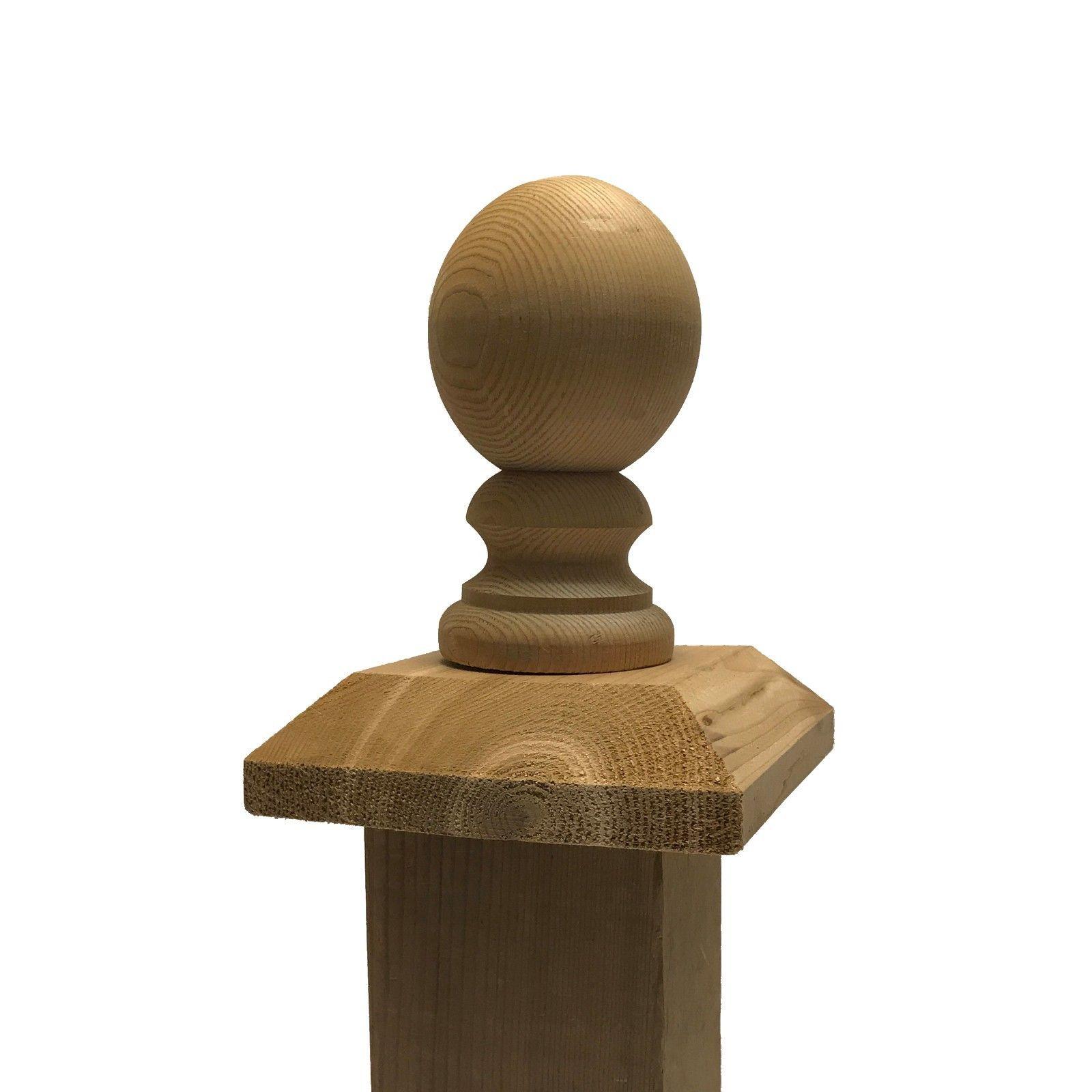 "Cedar Ball Top 3"" Finial with Flat Wood Base Cap"