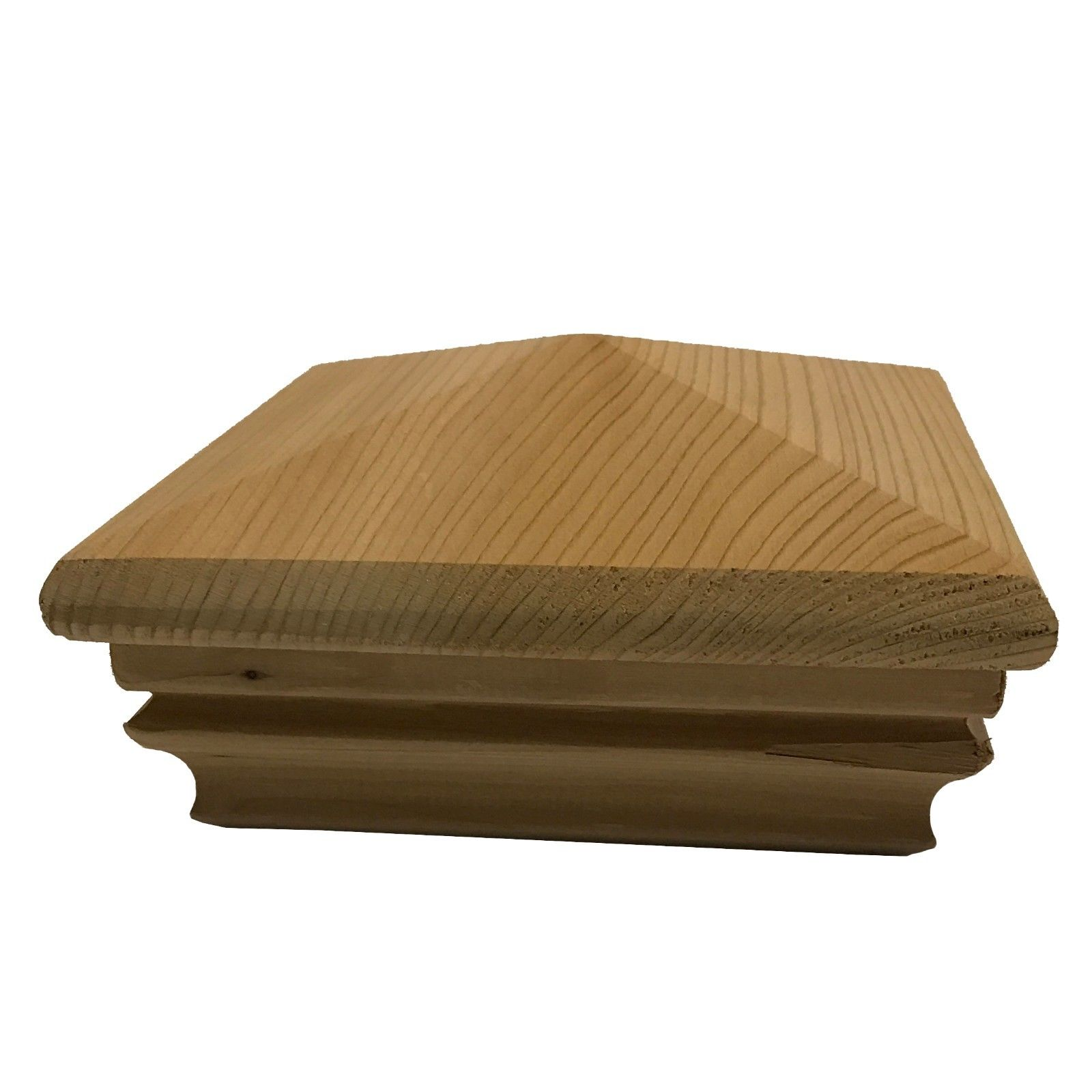 """Cedar Pyramid Wood Post Cap for 3 5"""" x 3 5"""" Fence and Deck Posts"""