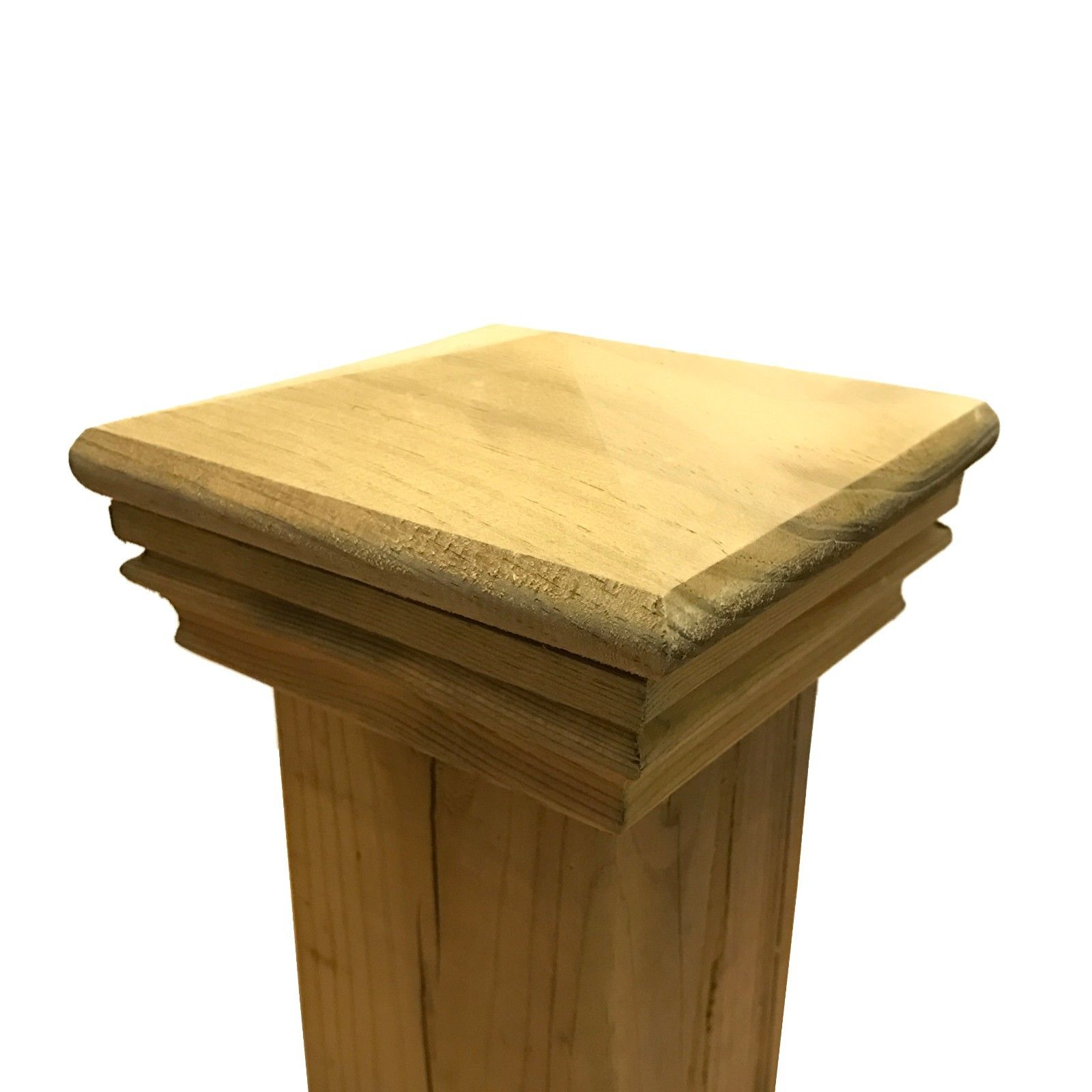 """Pressure Treated Pyramid Wood Post Cap for 3.5"""" x 3.5"""" Fence and Deck Posts"""