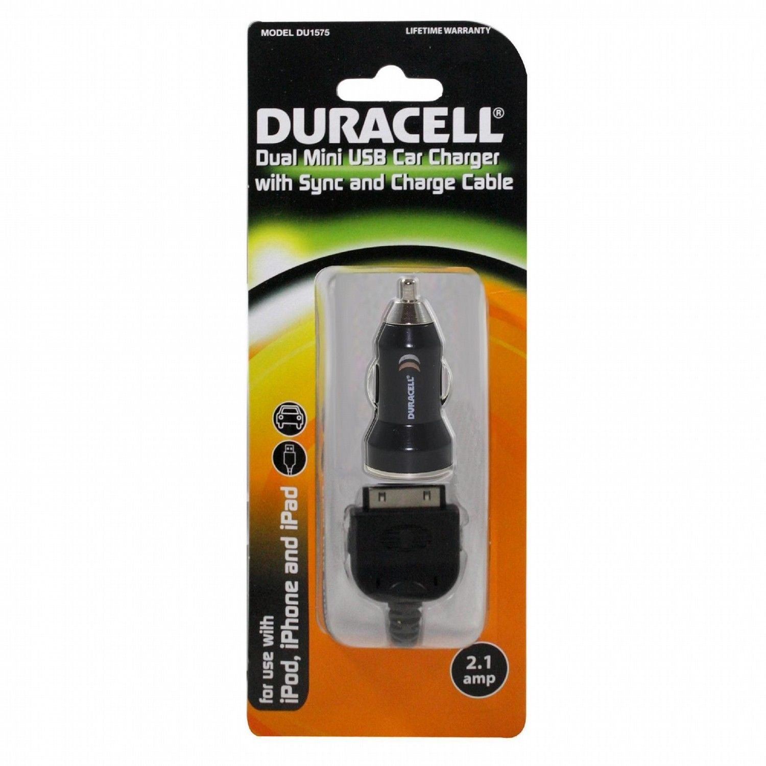 Duracell Dual USB Car DC Charger 2.1Amp With 30-Pin Cable - DU1575