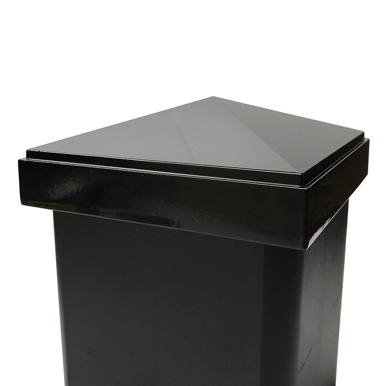 "Decorex Hardware Aluminum 4"" x 4"" Pyramid Post Cap for 4″ x 4″ Metal Posts – Pressure Fit – Black"