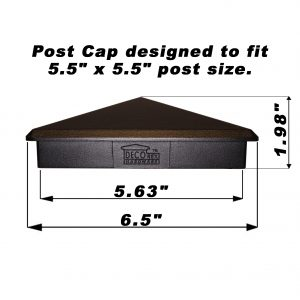 "Decorex Hardware 5.5"" x 5.5"" Aluminium Pyramid Post Cap Heavy Duty For Actual 5.5"" x 5.5"" Wood Posts - Black"