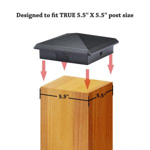"""Decorex Hardware 5.5"""" x 5.5"""" Aluminium Pyramid Post Cap Heavy Duty For True/Actual 5.5"""" x 5.5"""" Wood Posts - Black (Works ONLY with Actual 5.5"""" x 5.5"""" Posts. Will NOT Work with Actual 6"""" x 6"""" Posts)"""
