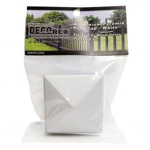 "Decorex Hardware Aluminium 2"" x 2"" Pyramid Metal Post Caps For Metal Posts - Pressure Fit - White"
