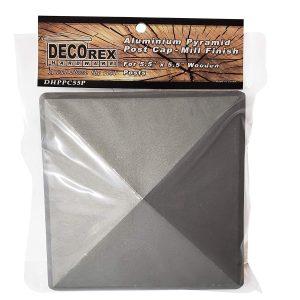 "5.5"" x 5.5"" Heavy Duty Aluminium Pyramid Post Cap for Wood Posts - Natural Mill Finish/Sandblasted"