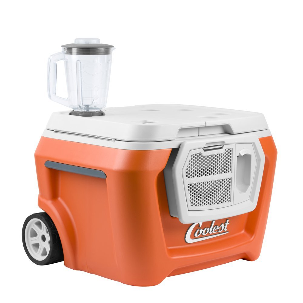 Coolest Cooler (60 Quart, Classic Orange) Premium ice Chest with Bluetooth Speaker, Oversized Wheels, telescoping Handle, Picnic Party Essentials, Bungee tie Down and Optional Blender and Solar lids