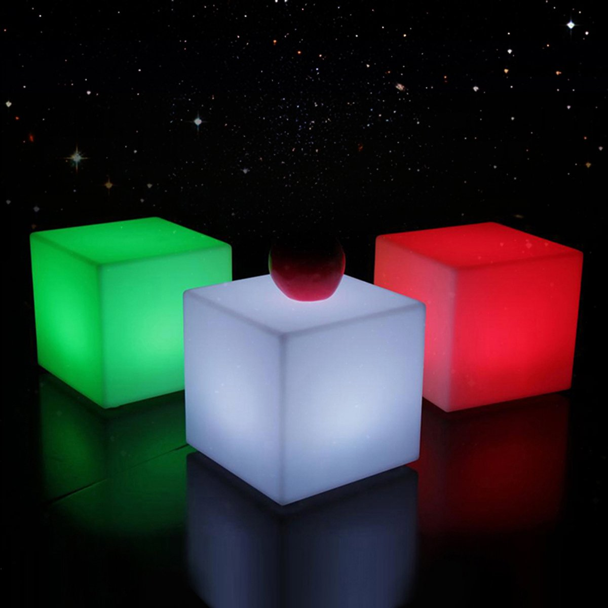 colored Lights LED Cube Squaru Quartet Decorative Table Lamp Charging Remote Control IP54 Waterproof Outdoor Garden Party Christmas Decorations