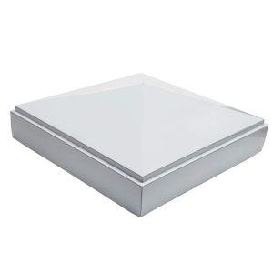 "Decorex Hardware Aluminum 4"" x 4"" Pyramid Post Cap for 4″ x 4″ Metal Posts - Pressure Fit - White"