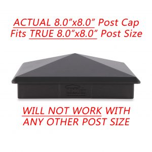 """Decorex Hardware 8"""" x 8"""" Heavy Duty Aluminium Pyramid Post Cap for True/Actual 8"""" x 8"""" Wood Posts - Black (Works ONLY with Actual 8"""" x 8"""" Posts. Will NOT Work with Actual 7.5"""" x 7.5"""" Posts)"""