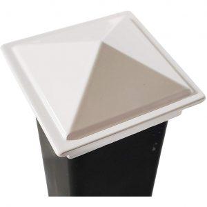 """Decorex Hardware White 2"""" x 2"""" Aluminium Pyramid Post Cap for Metal Posts - Pressure Fit (DHPPC20WF)"""