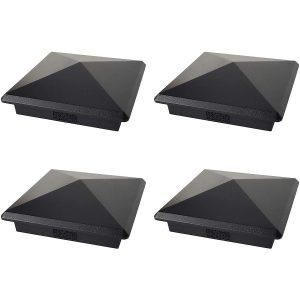 "Black 4.5"" x 4.5"" Heavy Duty Pyramid Post Cap (4 Pack)"