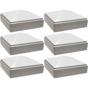 """2.5"""" x 2.5"""" white Pyramid Post Cap 6pack"""