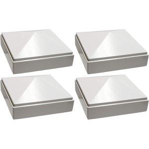 """3"""" x 3"""" white Pyramid Post Cap 4pack"""