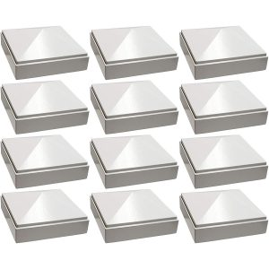 "3"" x 3"" white Pyramid Post Cap 12pack"
