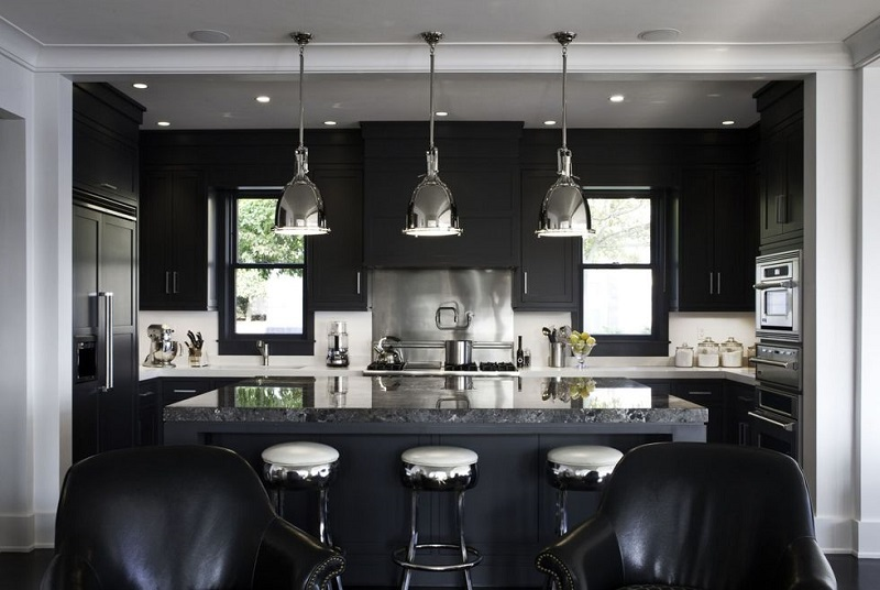 monochrome black kitchen
