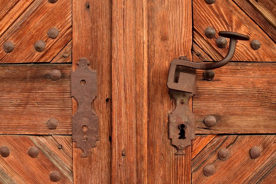 wooden iron gates