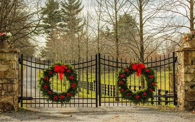 christmas wreath outdoors