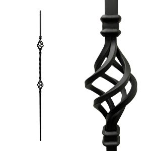 """Iron Stair Balusters 1/2"""" Square x 44"""" Long, Double Basket, Hollow, Black Powder Coated - 15pcs - (Satin Black)"""
