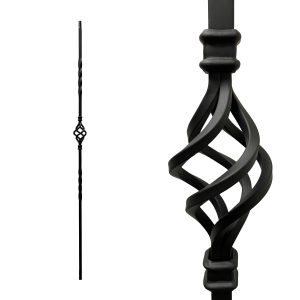 "Iron Stair Balusters 1/2"" Square x 44"" Long, Single Basket, Hollow, Black Powder Coated - 15pcs - (Satin Black)"