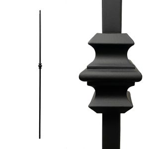 """Iron Stair Balusters 1/2"""" Square x 44"""" Long, Single Knuckle, Hollow, Black Powder Coated - 15pcs - (Satin Black)"""