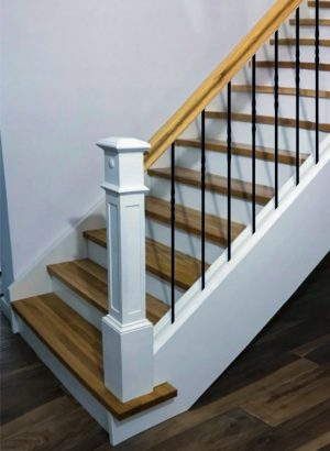 "Iron Stair Balusters 1/2"" Square x 44"" Long, Single Twist, Hollow, Black Powder Coated - 30pcs - (Satin Black)"