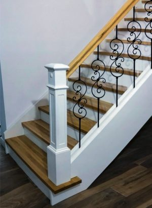 """Iron Stair Balusters 1/2"""" Square x 44"""" Long, Small Scroll, Hollow, Black Powder Coated - 6pcs - (Satin Black)"""
