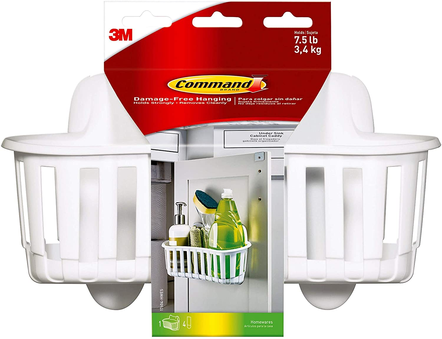 Command Under Sink Cabinet Caddy, Large, White, 1 Caddy 4 Strips