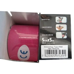 """Kinesiology Tape 2"""" x 16' (One Precut Roll) for Sports and Therapy, Reduces Inflammation, Suppresses Pain, Stimulates Muscles - Pink"""