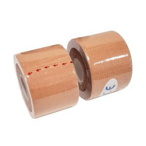 """Kinesiology Tape 2"""" x 16' (Two Precut Rolls) for Sports and Therapy, Reduces Inflammation, Suppresses Pain, Stimulates Muscles - Skin Color"""
