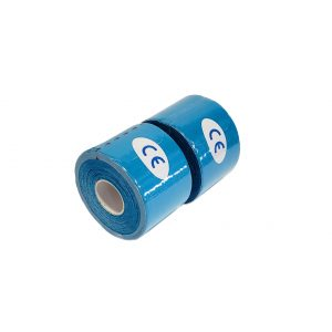 """Kinesiology Tape 2"""" x 16' (Two Precut Rolls) for Sports and Therapy, Reduces Inflammation, Suppresses Pain, Stimulates Muscles - Blue"""