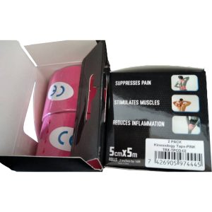 """Kinesiology Tape 2"""" x 16' (Two Precut Rolls) for Sports and Therapy, Reduces Inflammation, Suppresses Pain, Stimulates Muscles - Pink"""